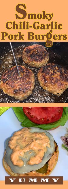 You don't even have to get a grill going because these are done directly in a skillet. The secret to these burgers is the spicy-sweet flavor and a mild garlickiness from some Asian chili-garlic sauce and a little brown sugar mixed into the ground pork. Pork Burgers, Chili Garlic Sauce, Little Brown, Grilling Recipes, Skillet, I Foods, Brown Sugar, Spicy, Asian