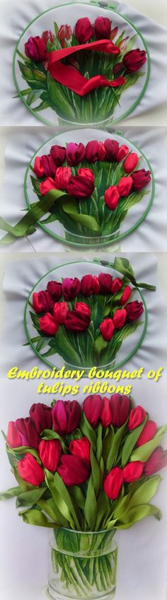 Embroidery bouquet of tulips ribbons 1