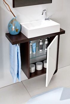 If it is renovation time and you have a tiny bathroom or ensuite that needs to somehow magically become bigger - then read on - this in depth step-by-step post is for you. Chock to the brim with good info by the time you finish this post you will be. Bathroom Sink Design, Small Bathroom Sinks, Compact Bathroom, Tiny Bathrooms, Downstairs Bathroom, Bathroom Wall, Bathroom Storage, Bathroom Ideas, Bathroom Designs