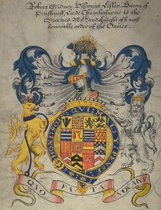 The full achievement of arms of Robert (Sidney), Viscount Lisle, painted in 1616 Medieval Manuscript, Illuminated Manuscript, Family Shield, Renaissance Portraits, Book Sculpture, Flag Banners, Family Crest, Crests, Coat Of Arms
