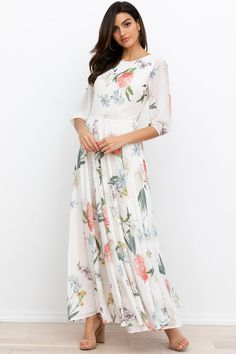 Casual to Formal: 20 Best Long Dress Ideas for You - From v-necks to a-lines, here are five best long dress ideas for your everyday occasion—starting from an afternoon outing to a formal evening event. Summer Formal Dresses, Modest Dresses, Modest Outfits, Baggy Dresses, Long Sleeve Floral Dress, Floral Print Maxi Dress, Maxi Dress With Sleeves, Floral Dresses, Queen
