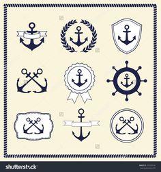 vintage nautical set anchor