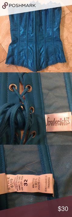 Beautiful Blue Corset, Frederick's of Hollywood Pre-loved, front closing, blue corset from Frederick's of Hollywood. Frederick's of Hollywood Intimates & Sleepwear