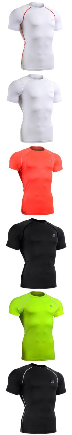 Men's Short Sleeves Compression Shirts Base Layer Skins Plam Color Casual T-Shirts Fitness Fix Gear Workout Tee S-4XL