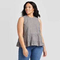 Women's Plus Size Striped Crewneck Tiered Cropped Tank Top - Universal Thread Navy Women's, Size: Blue Gender: female. Cropped Tank Top, Crop Tank, Tank Tops, Plus Size Stores, Womens Sleeveless Tops, Eyelet Top, How To Look Classy, Vintage Style Outfits, White Backdrop