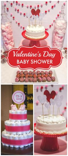 You have to see this Valentine's baby shower!  It's red and pink with hearts everywhere! See more party planning ideas at CatchMyParty.com!