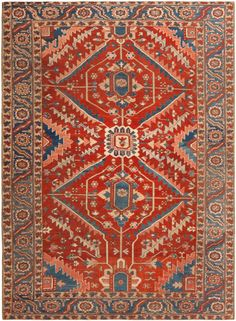Antique Persian Heriz Serapi Rug 46419 Main Image - By Nazmiyal