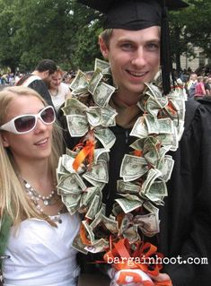 Make a money lei for grads using ribbons in school colors. A gift they will really appreciate!