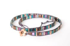 Beaded Wrap Bracelets, Beaded Earrings, Handmade Beaded Jewelry, Purple Leather, Copper Color, Metal Buttons, Jewel Tones, Leather Cord, Teal