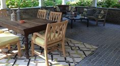 Outdoor living. Surya rug. Custom chair cushions and pillows. Kingsley Bate chairs and benches.