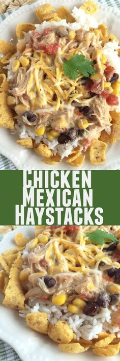 A creamy, slow cooker tex-mex chicken over some rice and corn chips. Top with… (Mexican Chicken Crockpot) Tex Mex Chicken, Mexican Chicken, Chicken Meals, Chicken Recipes, Mexican Shrimp, Ranch Chicken, Shrimp Recipes, Shredded Chicken, Chimichanga