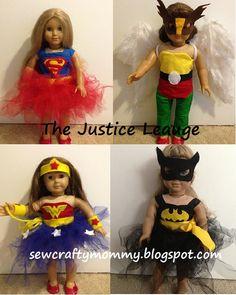 American Girl Doll Justice League Costumes #Wonder Woman # Batman #Superman #Hawkgirl
