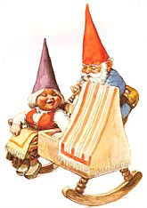 The fine craftsmen in Gnome mans land was superb. Gnomie made a rocking cradle with a rocking chair all in one section. Gnomie loved his family so much. His wife, he will do anything for her... ~Rien Poortvliet