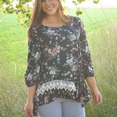 Floral Blouse With Lace www.shopblvd22.com
