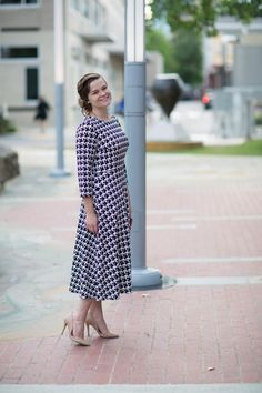 The Audrey Dress by Dainty Jewell's. Modest fashion, bridesmaid styles, ruffles, lace, houndstooth. www.daintyjewells.com