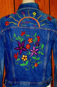 Examples For Custom Orders/Beautiful Embroidered Denim Jacket/Hippie/Bohemian/Jean Jacket/Hand Embroidery