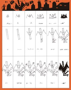 Ed Emberley's Drawing Pages / Halloween Drawing Tutorials For Kids, Drawing For Kids, Drawing Ideas, Halloween Doodle, Halloween Drawings, Scary Drawings, Cartoon Drawings, Super Easy Drawings, Ed Emberley