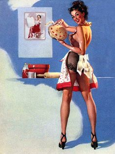 """What's Cooking"" (He's Got a Bachelors Degree But I'll Change That), 1949 by Gil Elvgren  #222"
