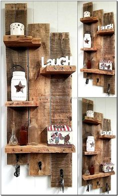 Pallet Furniture Projects Copy this wood pallet shelf idea because you can use it in many ways. Place decorative items on it, hang keys on the hooks pinned to the pallets or hang anything else with the chances of missing. Add as many shelves as required. Wooden Pallet Shelves, Wooden Pallet Projects, Wooden Pallet Furniture, Wooden Pallets, Diy Projects, Project Ideas, Pallet Wood, Pallet Ideas For Walls, Pallet Home Decor