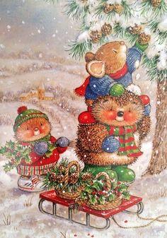 New Gordon Fraser Christmas New Year double card hedgehog mouse tree cone Latvia Christmas Scenes, Noel Christmas, Christmas Animals, Vintage Christmas Cards, Christmas Pictures, Winter Christmas, Christmas Crafts, Christmas Postcards, Illustration Noel