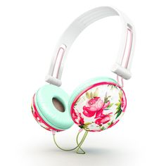 Pastel pink floral Headphones. Would like a pair of noise-canceling headphones.