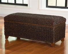 A Line Furniture Tropical Dark Brown Hand Woven Banana Leaf Storage Trunk Stairs In Living Room, Living Room Furniture, Kitchen Furniture, Decorative Trunks, Brown Color Schemes, Coaster Fine Furniture, Living Room Accessories, Brown Wood, Dark Brown