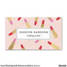 Luxe Glam Lipstick Pattern on Pink Double-Sided Standard Business Cards (Pack Of 100)