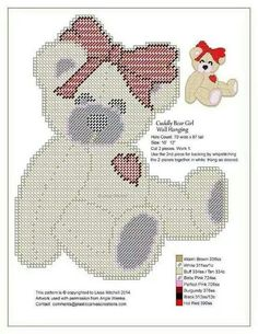 White Bear with Red Heart Plastic Canvas Ornaments, Plastic Canvas Tissue Boxes, Plastic Canvas Christmas, Plastic Canvas Crafts, Plastic Canvas Patterns, Crochet Quilt, Crochet Cross, Cross Stitch Baby, Cross Stitch Charts