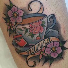 My next idea for my grandparents who passed this year Nana Tattoo, Grandma Tattoos, Tattoo Now, Food Tattoos, Up Tattoos, Flower Tattoos, Grandparents Tattoo, Teacup Tattoo, Oldschool Tattoos