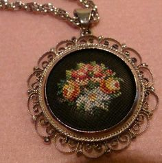 Vintage Petit Point Embroidery Necklace Scroll Frame Lovely Old Jewelry Flowers #Unbranded #Pendant