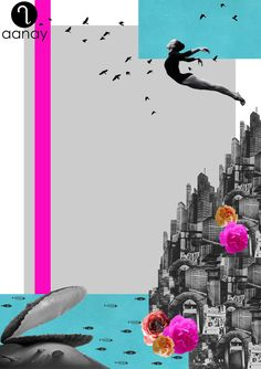 The world is my Oyster  #Illustration #theworldismyoyster #freedom #girl #flying #birds #buildings #oyster #flow #fish #aanay