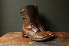 WWII Double Buckle Military Paratrooper Boots