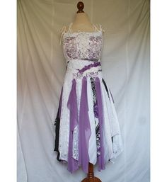 White and Purple Fairy Tattered Romantic Dress Upcycled Woman's Clothing Funky Style Shabby Chic Eco Friendly Style Upcycled Clothing for $123.45 at etsy.com