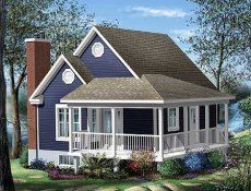 cottage designs  a porch and little round windows...how cute