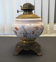 Really Old Oil Lamp Glass & Brass Base Needs TLC Marked P & A on bottom