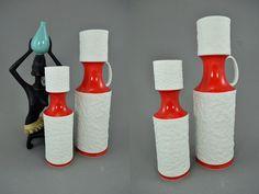 Bisquit Op Art Vasen-Set (2 Vasen) / weiß-rote Porzellanvasen / Royal Porzellan Bavaria / KPM | 70er von ShabbRockRepublic auf Etsy