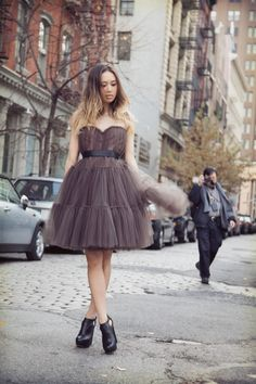 The Lanvin for H&M tulle ballerina dress that I got - worn here by Fashiontoast Rumi Neely