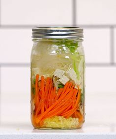 Prep and build these soup jars on Sundays, and you'll have a warming, homemade lunch every day of the week. All you need to do is add hot water at lunchtime, which will cook the noodles and bring the flavors of the jar to life. Before digging in, drizzle with some soy sauce and sriracha (which you can keep handy at the office).