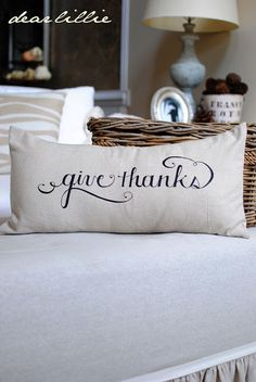 "thanksgiving ""give thanks"" pillow via Crotty Holmes - Dear Lillie Thanksgiving Crafts, Thanksgiving Decorations, Fall Crafts, Thanksgiving Prayer, Thanksgiving 2016, Holiday Centerpieces, Seasonal Decor, Holiday Crafts, Christmas Diy"