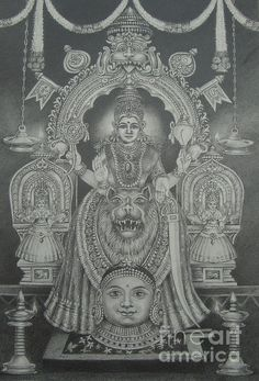 Hindu Goddess Drawing - Mookambika Devi by Asha Sasikumar Kerala Mural Painting, Tanjore Painting, Shiva Art, Hindu Art, Durga Maa Pictures, Sai Baba Wallpapers, Basic Drawing, Buddha Art, Durga Goddess