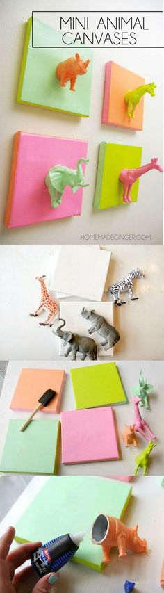 This cute DIY canvas project made with plastic animals is such a fun and easy idea! It's perfect for a nursery, kids' room, or craft studio.:
