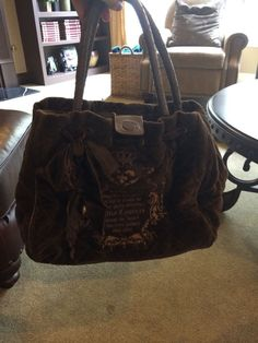 JUICY COUTURE Brown Velour Leather Daydreamer Purse Handbag Large #JuicyCouture #ShoulderBag