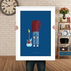 """Plakat z autorską grafiką inspirowany Kurtem Cobainem, wokalistą i gitarzystą zespołu Nirvana. Pochodzi z serii """"Kostiumy muzyczne"""" i przedstawia ikoniczny sweter w czarno-czerwone paski oraz znoszone jeansy.  Drukowany za pomocą ekologicznych, bezwonnych tuszy pigmentowych EPSON Ultra K3 In ... Kurt Cobain, Nirvana, Grunge, Posters, Design, Paper Board, Poster, Grunge Style"""