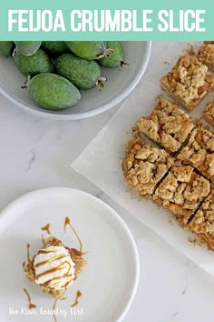 This Feijoa Crumble Slice is the perfect way to celebrate feijoa season! It's a quick easy slice with an oaty base, feijoa filling and a crumble topping that's perfect served as a warm dessert or as a lunchbox snack! Kiwi Recipes, Healthy Dessert Recipes, Fall Recipes, Baking Recipes, Desserts, Baking Ideas, Self Saucing Pudding, Easy Slice, Crumble Topping
