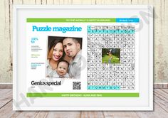 Personalized Crossword, Scandinavian type puzzle with photo, Magazin type, Personal message, Anniversaries, Birthdays, Weddings, unique by HarotoDesign on Etsy