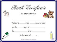 Fake Birth Certificate Birth certificate Certificate and Birth