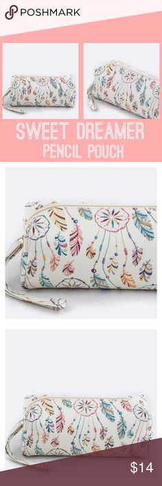 """Sweet Dreamer"" Pencil Pouch It's the little things that make girls happy! Keep your pretty little things in this pretty little dreamcatcher themed pouch with tassels. Can be used as a cosmetic bag too! Product dimensions: 8"" x 4"" x 5 1/2"" Paper Hearts Bags Cosmetic Bags & Cases"