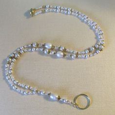 Beaded Lanyard ID Badge Holder Freshwater and Swarovski Crystal Pearl Gold