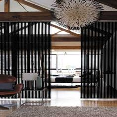 Panel Tracks and Sliding Panels are a stylish alternative to vertical blinds. Sliding panels are the best window shades for modern homes. Panel tracks work great on large windows, sliding glass doors, or as a room divider. Sliding Window Treatments, Sliding Panel Blinds, Window Coverings, Sliding Wall, Sliding Doors, Space Dividers, Wall Dividers, Fabric Room Dividers, Modern Room