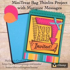 Mini Treat Bag Thinlits project featuring Marquee Messages Stamp Set, Festive Birthday Designer Paper and the Balloon Bouquet Punch plus more. This set of thinlits has many uses. Make a Party Invitation, Mini Gift Pouch, Party Favor, Business Information Sleeve and so much more. Projects by Melissa Kerman, Stampin' Up! demonstrator since 2003.